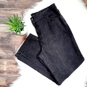Simon Chang high rise boot cut jeans